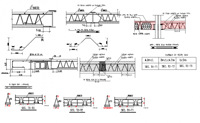Reinforcement plan and elevation detail dwg file