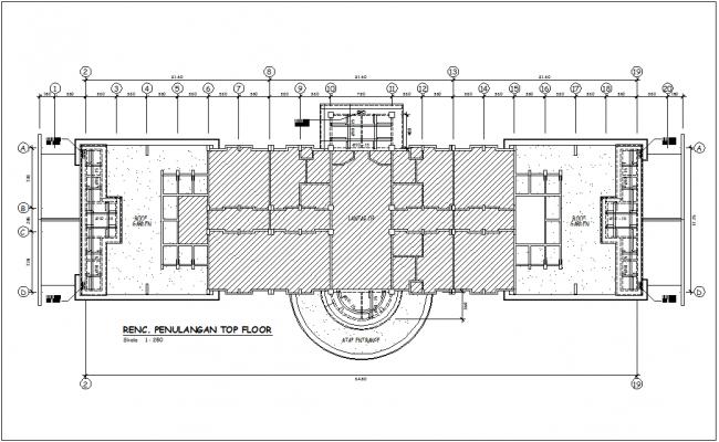 Reinforcement top floor plan for head quarter dwg file