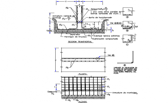 Reinforcements for foundations detail dwg file