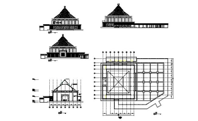 Religious mosque building elevation, section and plan details dwg file