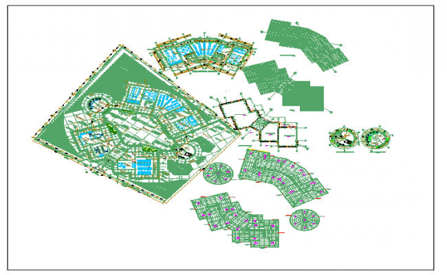 Religious university landscaping and floor plan details dwg file