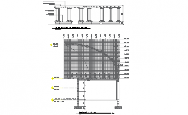 Relling plan and elevation detail dwg file