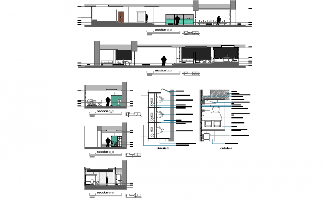 Remodeling plan and section detail dwg file