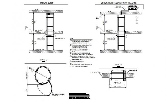 Remote location of head unit and elevator installation details for house dwg file