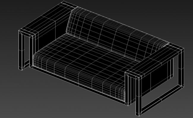 Rendered Modern Two Seater Sofa 3D MAX File Free Download