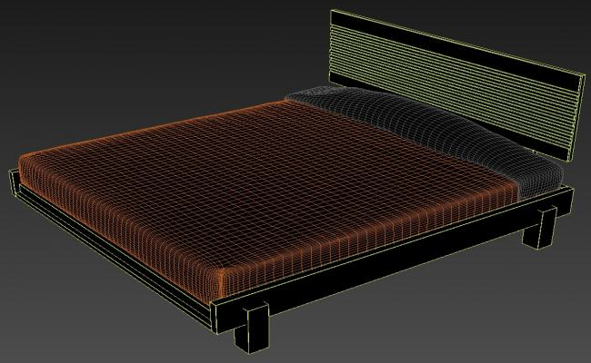 Rendered Ply Bed Design With Mattress 3D MAX File