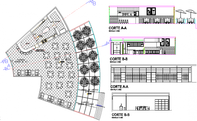 Research center and  layout plan dwg file