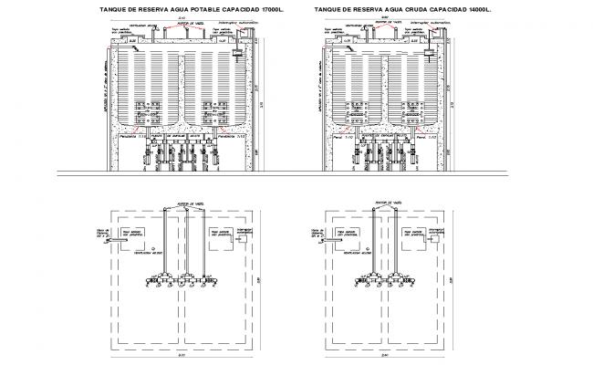 Reserve tank plan detail dwg file,
