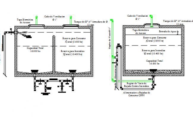 Reserve water tank architecture project dwg file