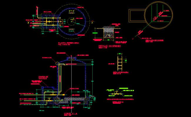 Reservoir 8m3 plan and section dwg file