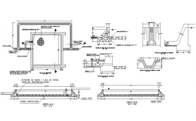 Reservoir plan detail dwg file