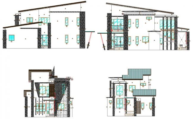 Residence Bungalow Facade Design AutoCad Drawing
