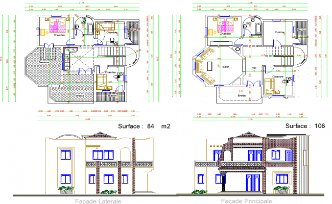 Residence Bungalow layout plan and elevation design dwg file