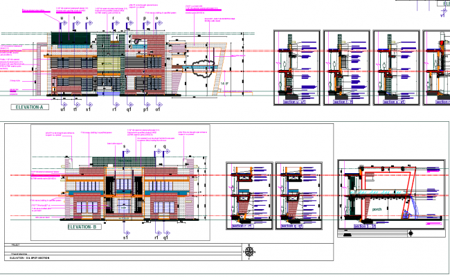 Residence Elevation with Detailing dwg file