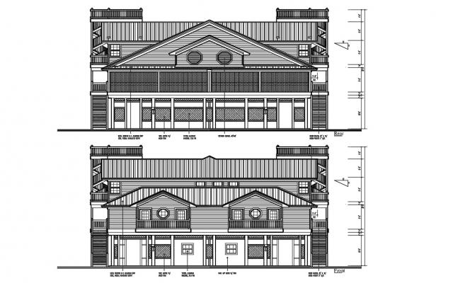 Residence Front And Rear Elevation Design DWG File