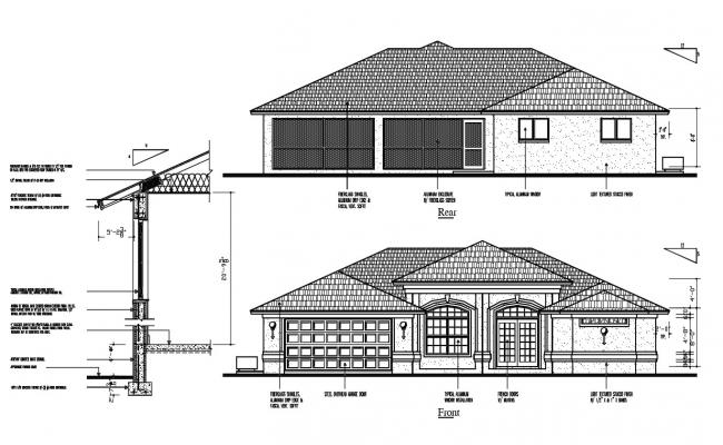 Residence House Elevation Design DWG File