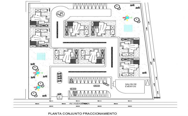 Residence House Township Layout Plan AutoCAD File
