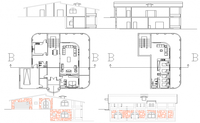 Residence House plan dwg file