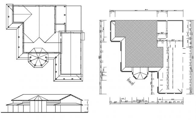 Residence Roof House Plan DWG File