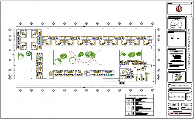 Residence and rehabilitation area view of hospital dwg file