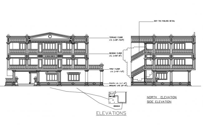 Residence area design of different types of elevation dwg file