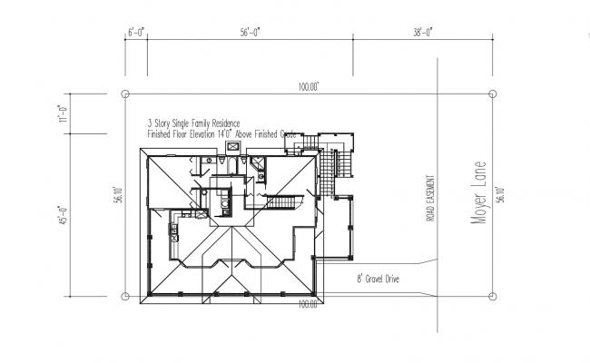 Small Residence Plan In DWG File