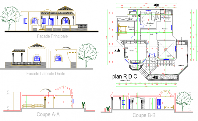Residence layout plan and elevation design