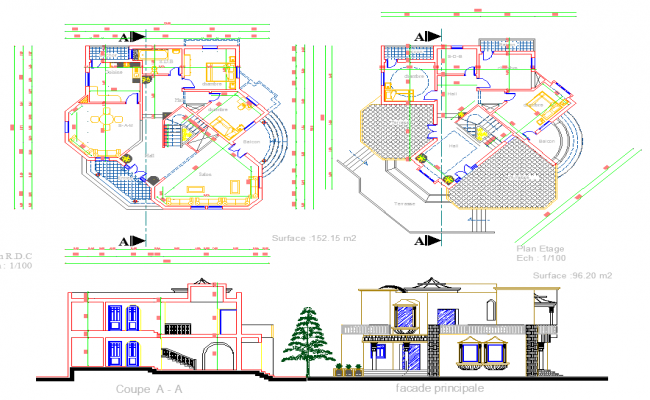 Residence layout plan and elevation design dwg file