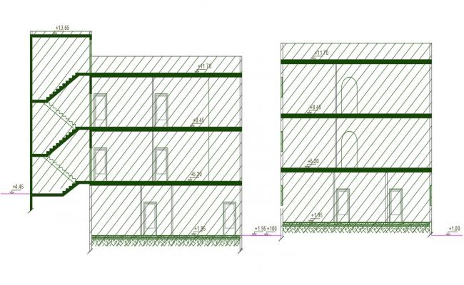 Residence Building Section drawing DWG File
