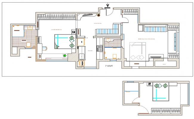 Residential 2 BHK Bungalow Furniture Arrangement Plan download
