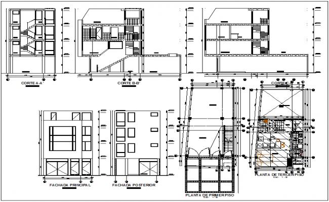 Residential 2 storey building plan detail dwg file