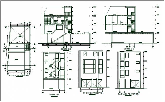 Residential 2 storey building plan detail dwg file