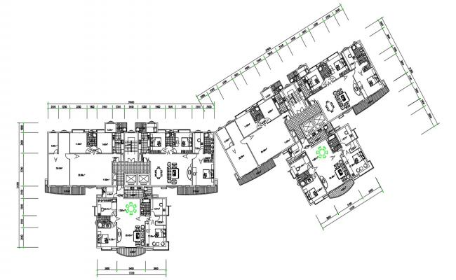 Residential 3 BHK Apartment CAD File Download