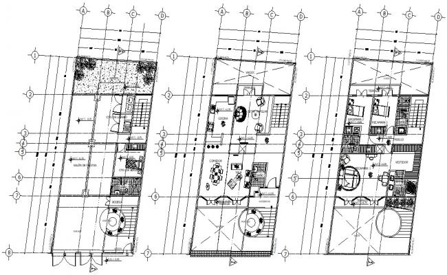 Residential 3 BHK Bungalow Furniture Layout Plan