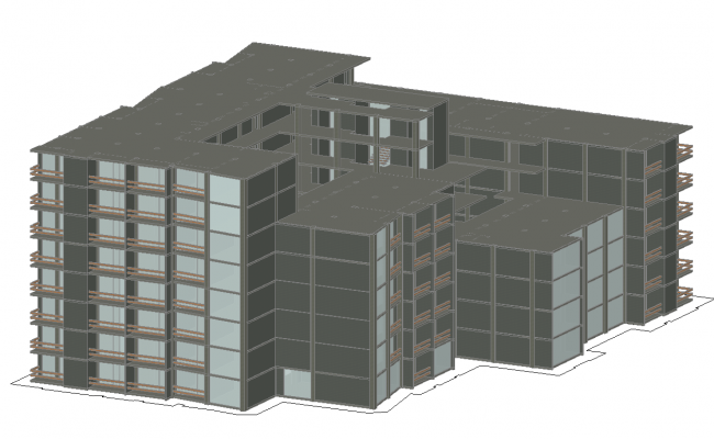 Residential 3d building view dwg file
