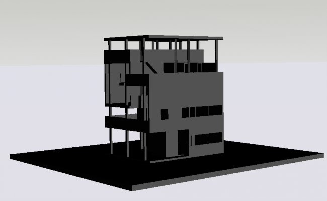 Residential 3d villa building dwg file