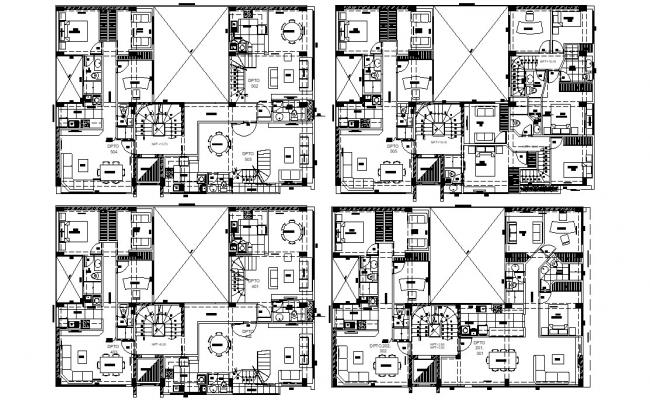 Residential Apartment 2d CAD drawing Furniture Layout Plan