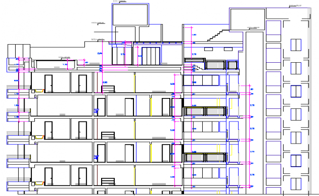 Residential Apartment Building Elevation Details dwg file
