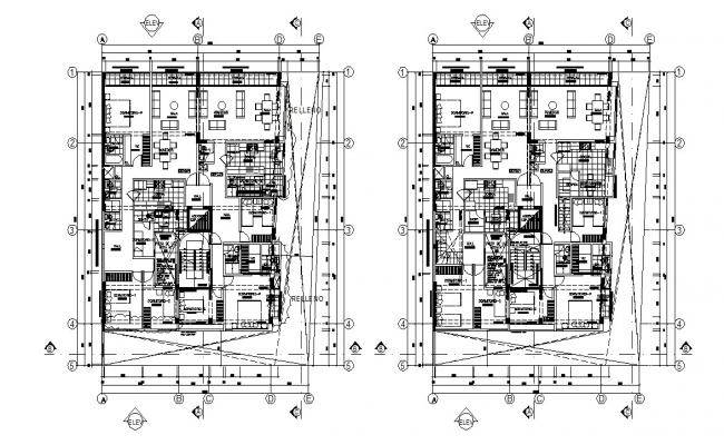 Residential Apartment Furniture Plan Architecture Drawing