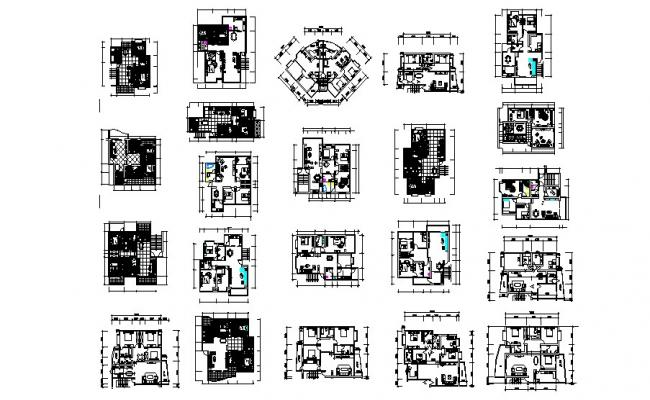 Residential Apartment with furniture detail in dwg file