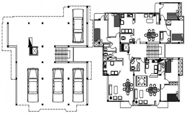 Residential Apartment with furniture details in dwg file
