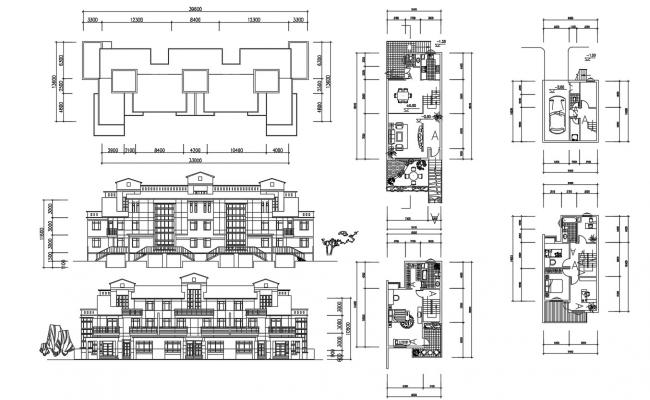 Residential Attached Bungalow Plan and Elevation Drawing
