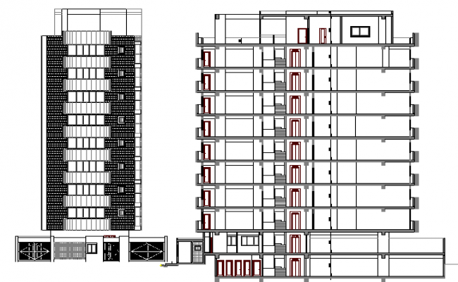 Front Elevation Of Residential Building In Autocad : Residential building design elevation and section dwg file
