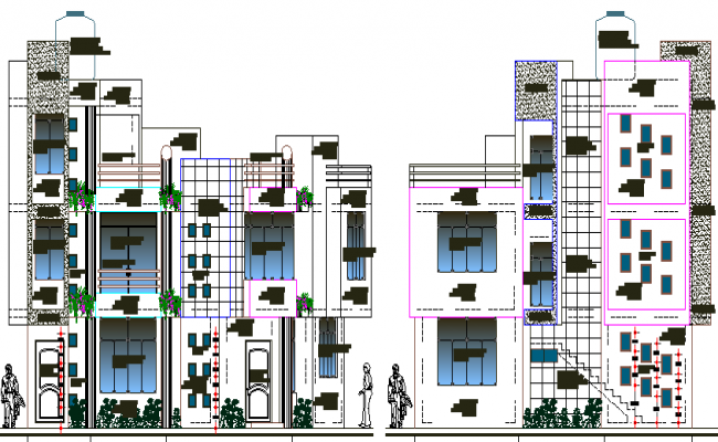 Residential building design and elevation dwg file for Residential building plans dwg