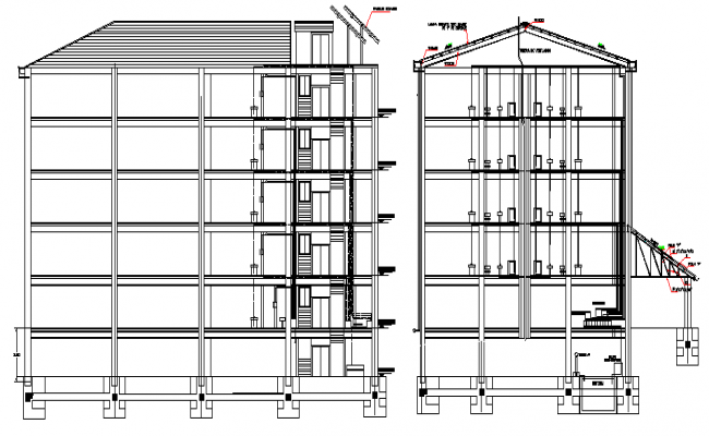 Residential Building Five Levels Elevation dwg file