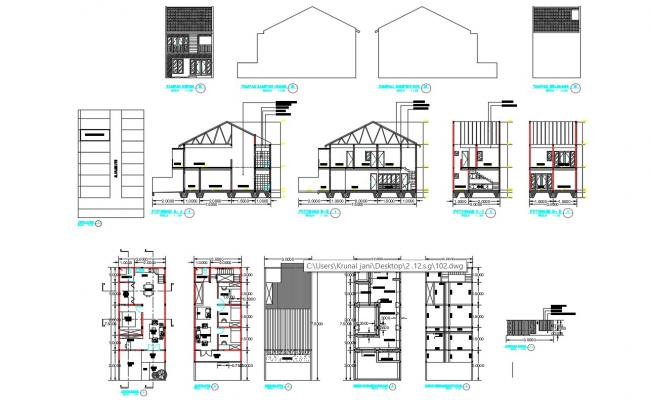 Residential Building Plans Elevation section With Dimensions And working drawing AutoCAD File