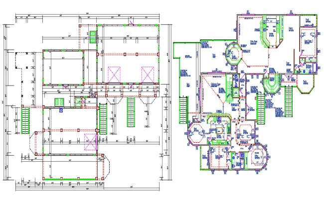 Residential Bungalow Design CAD Drawing Plan