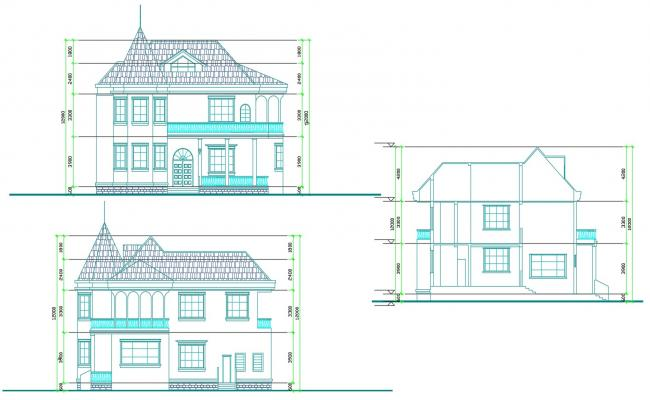 Residential Bungalow Elevation Design CAD Drawing