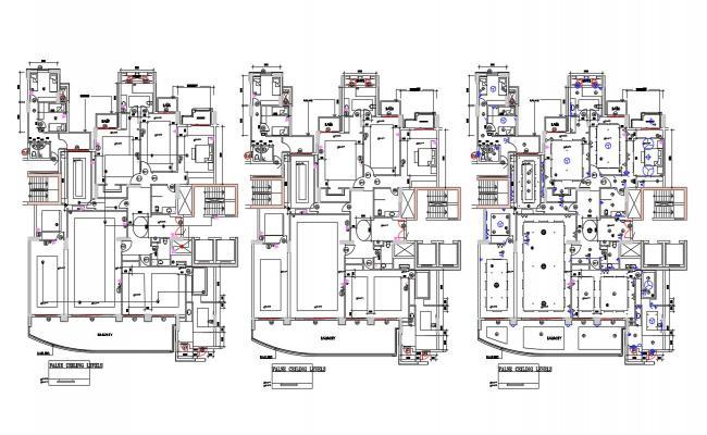 Residential Bungalow False Ceiling Design CAD File