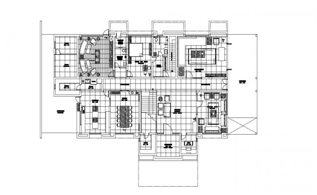 Residential Bungalow Furniture Layout Plan AutoCAD Drawing